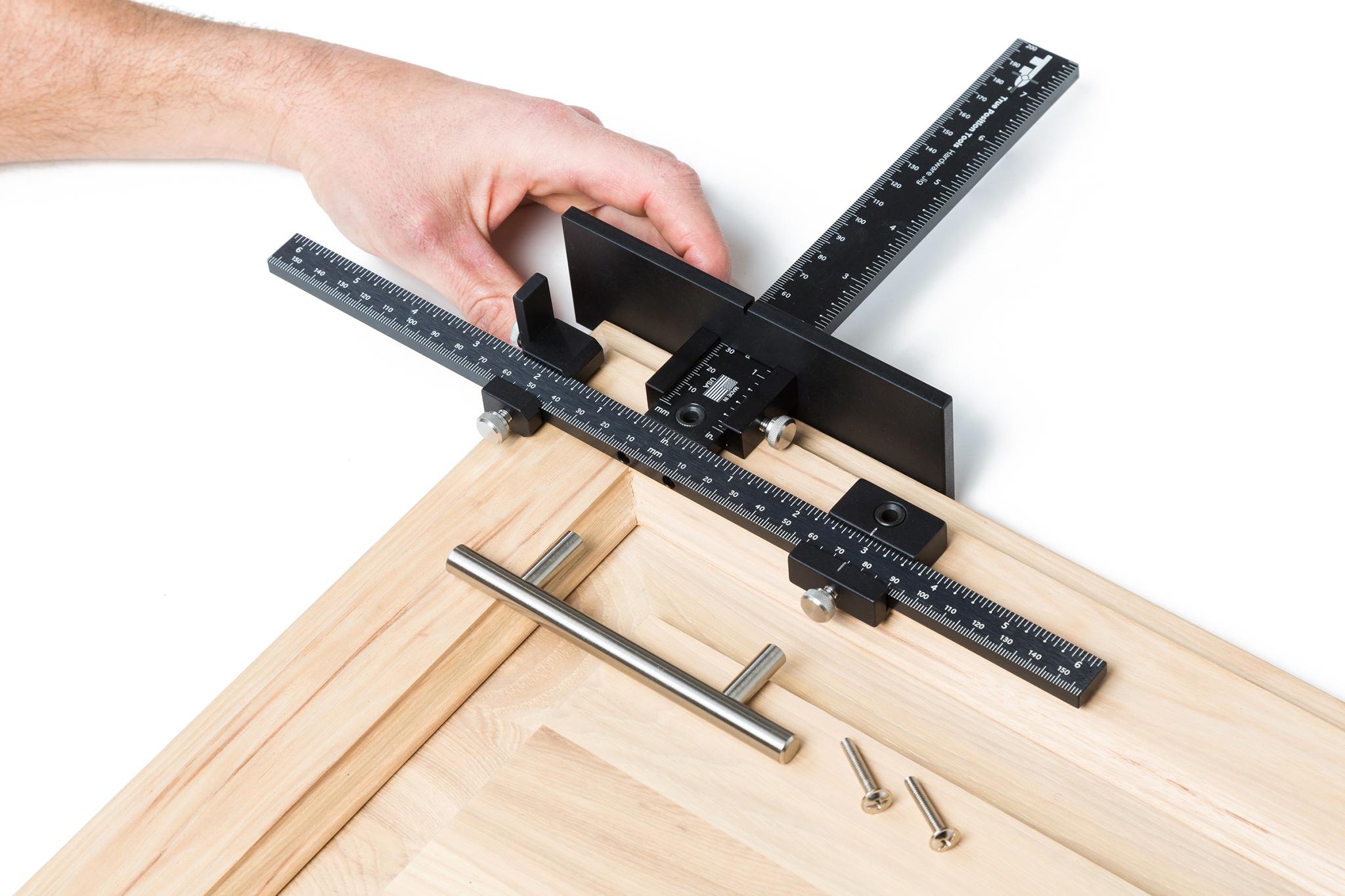 cabinet handle installation, cabinet door jig, true position tools, cabinet hardware installation, cabinet knob jig, door handle jig