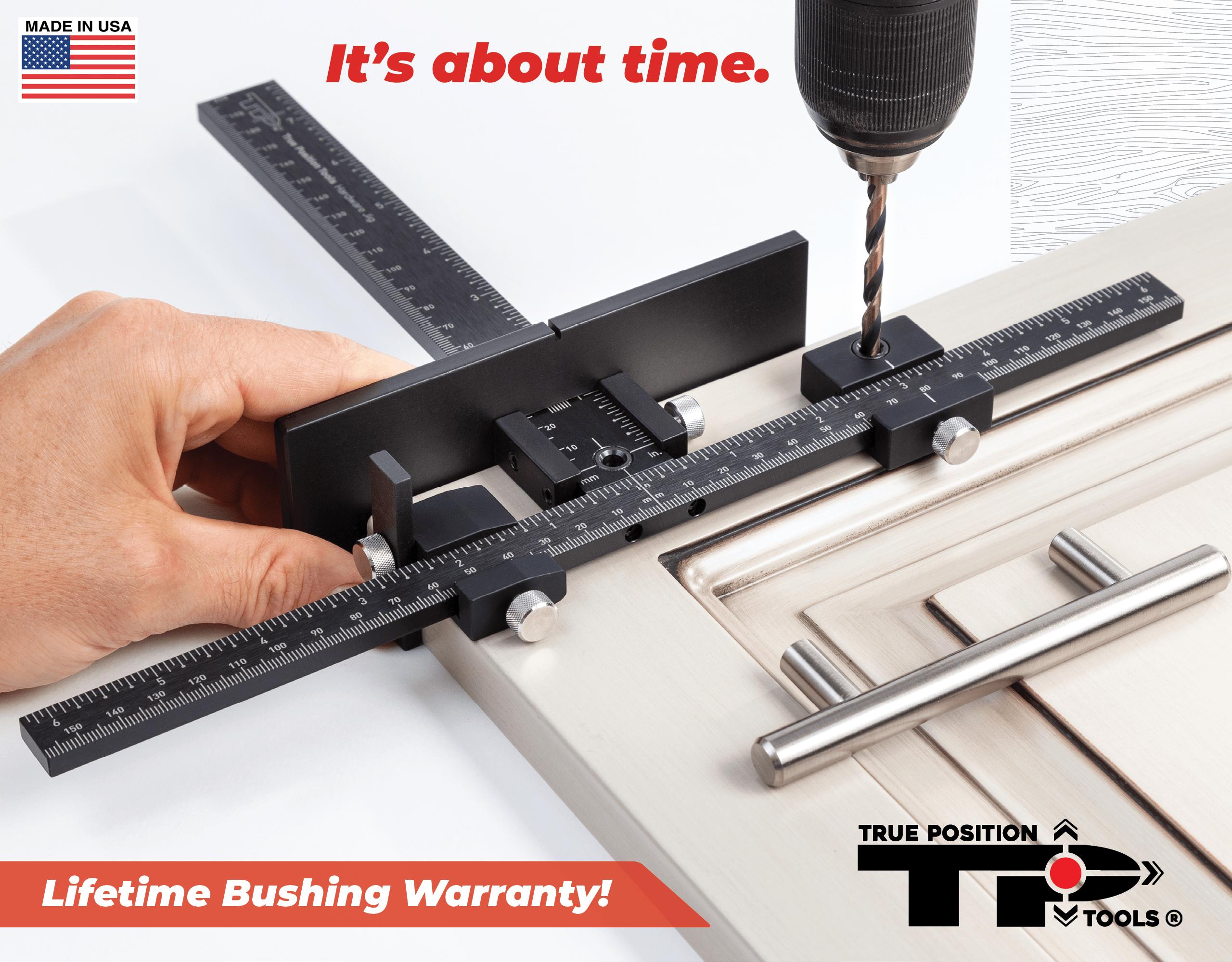 True Position Tools TP-1934 Cabinet Hardware Jig drilling door handles on a kitchen door front