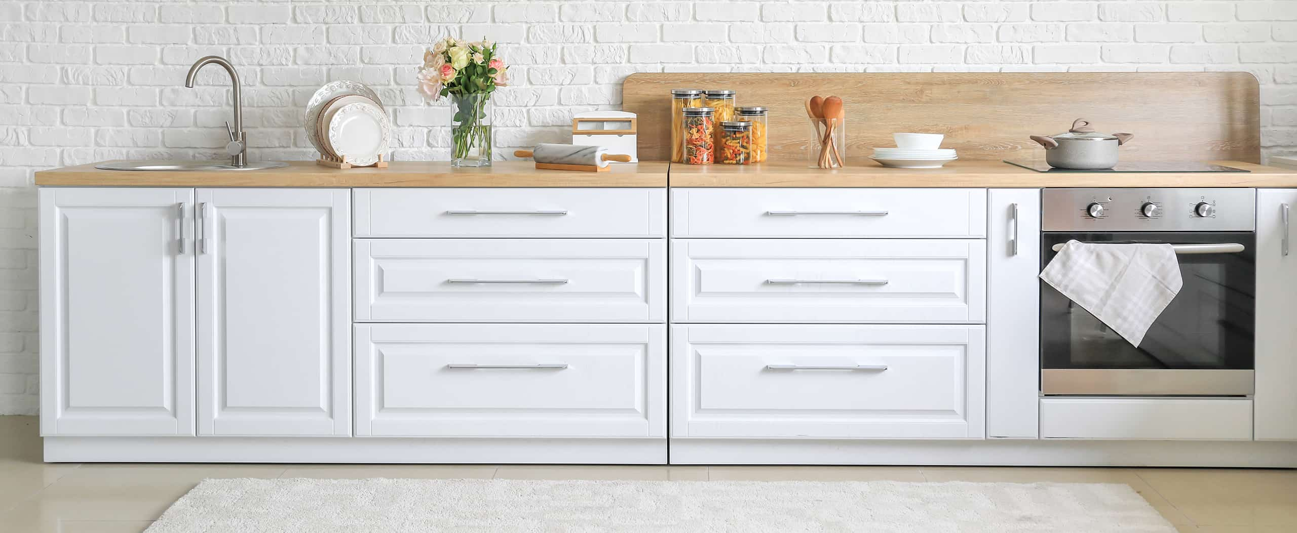 Stylish modern kitchen featuring cabinet handle pulls