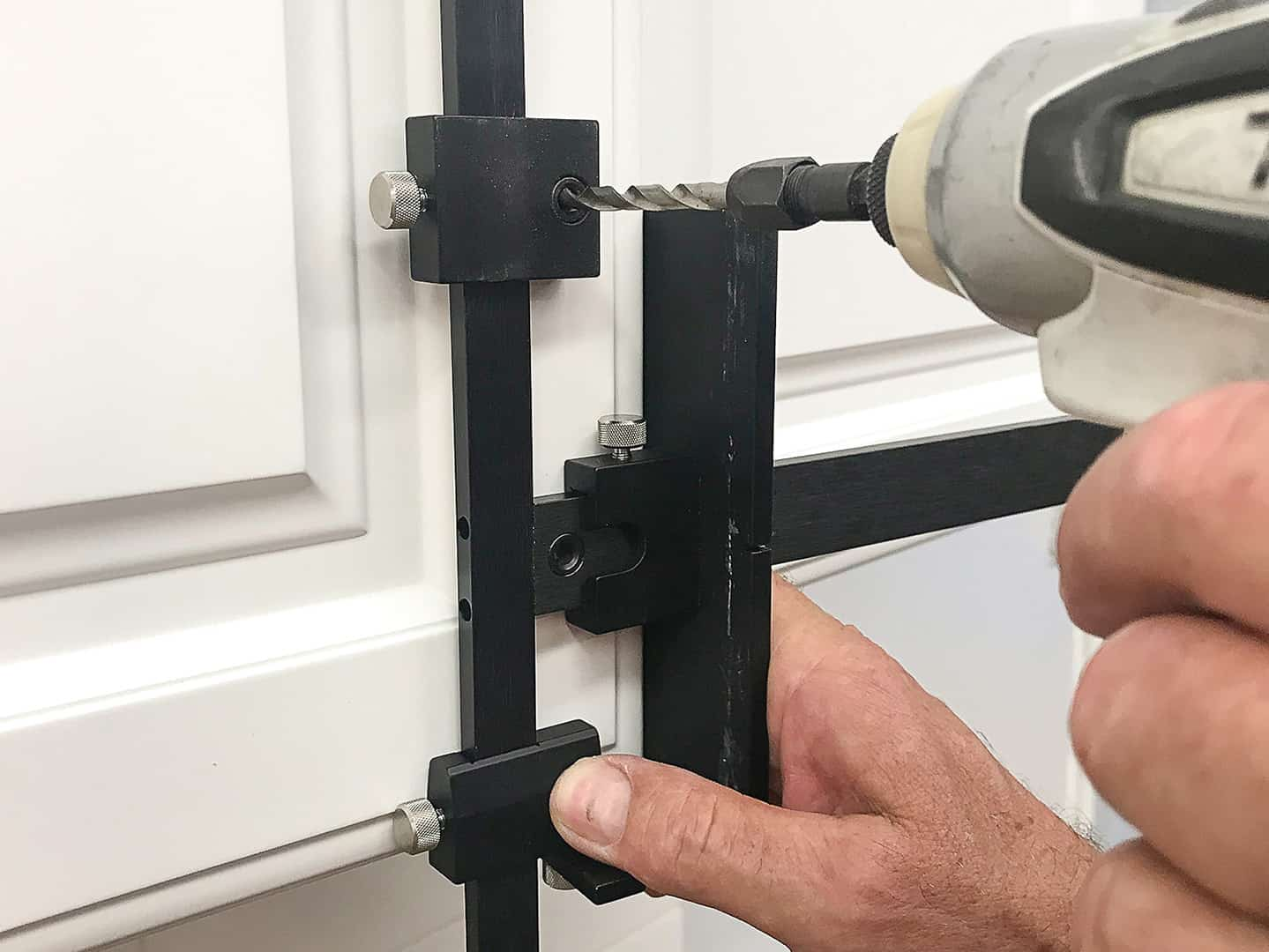 handle installation on cabinet door with TP-1934 Cabinet Hardware Jig (step 10)