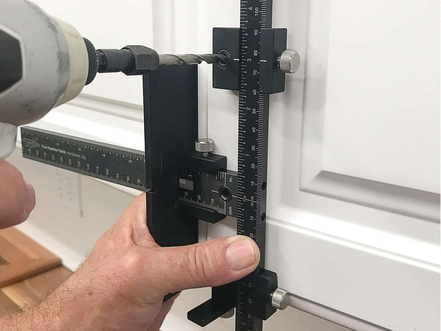 handle installation on cabinet door with TP-1934 Cabinet Hardware Jig (step 9)
