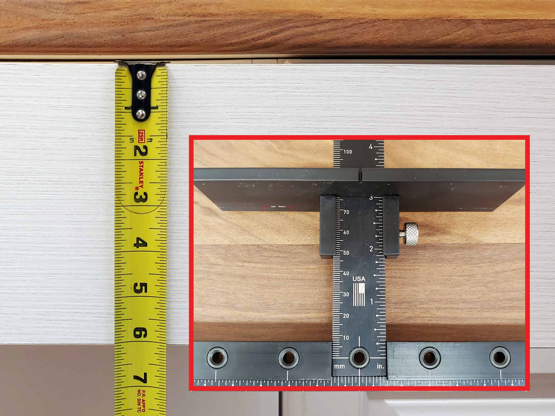 long handle installation on cabinet drawer with TP-1934 Cabinet Hardware Jig (step 5)