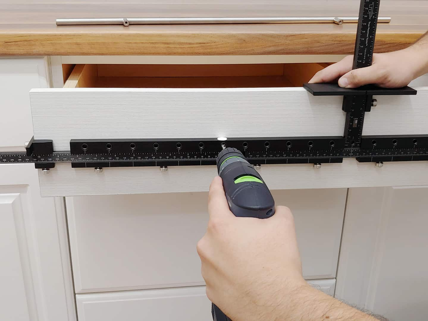 long handle installation on cabinet drawer with TP-1934 Cabinet Hardware Jig (step 6)