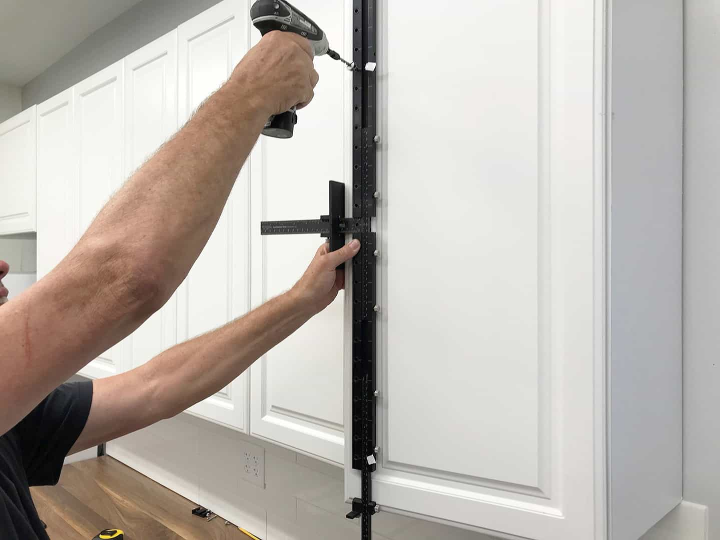 long handle installation on tall cabinet doors with TP-1935 Cabinet Hardware Jig (step 11)
