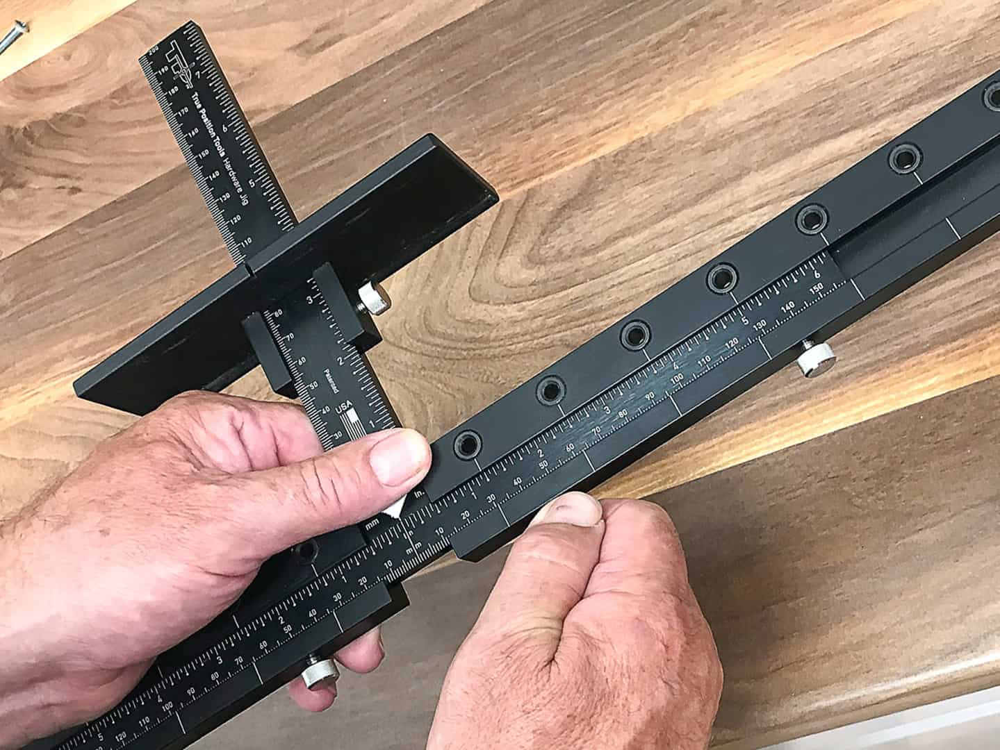 long handle installation on tall cabinet doors with TP-1935 Cabinet Hardware Jig (step 3)