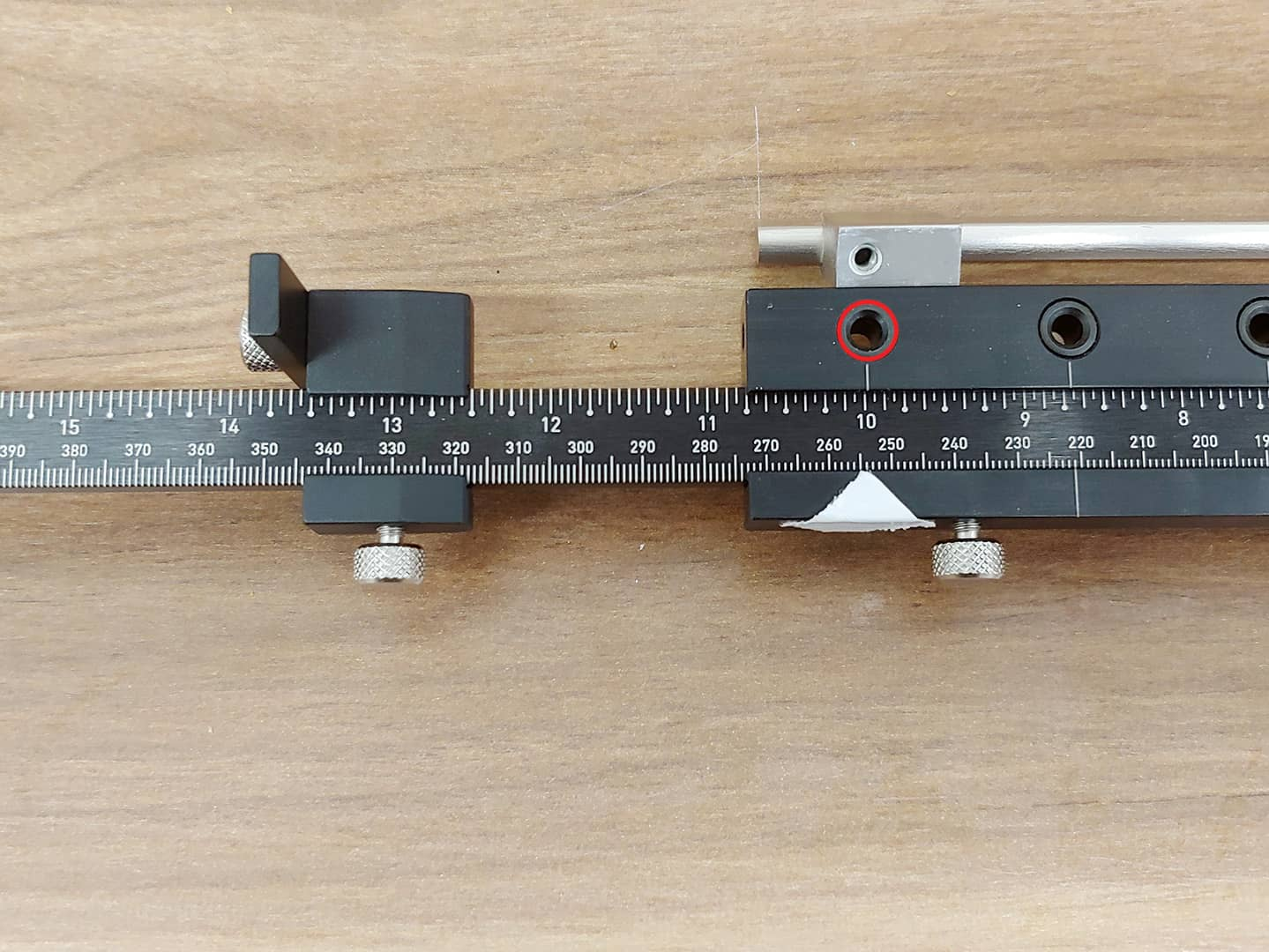 long handle installation on tall cabinet doors with TP-1935 Cabinet Hardware Jig (step 8)