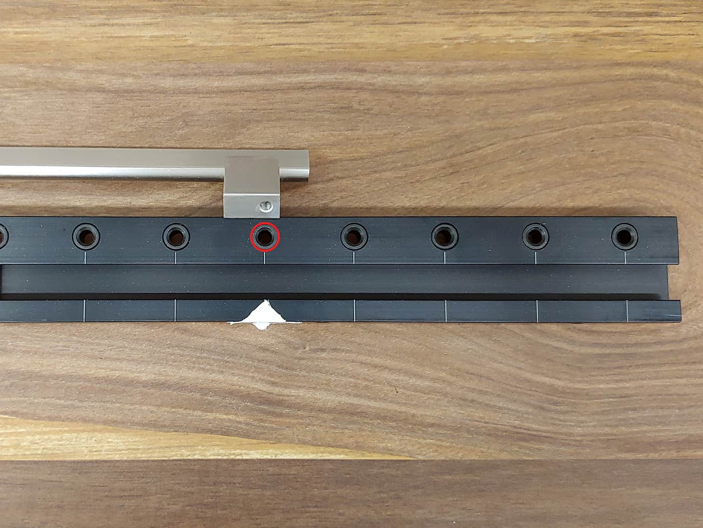 long handle installation on tall cabinet doors with TP-1935 Cabinet Hardware Jig (step 9)