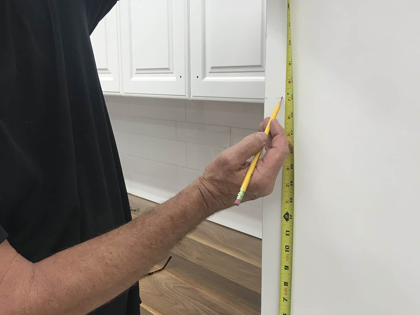 shelf pin line boring with TP-1935 Cabinet Hardware Jig (step 1)