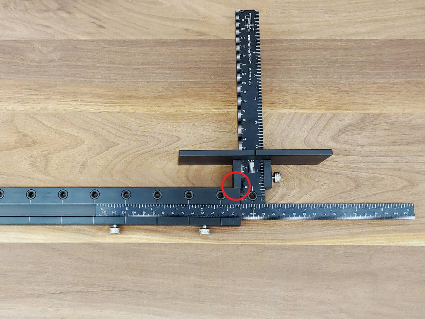 shelf pin line boring with TP-1935 Cabinet Hardware Jig (step 2)