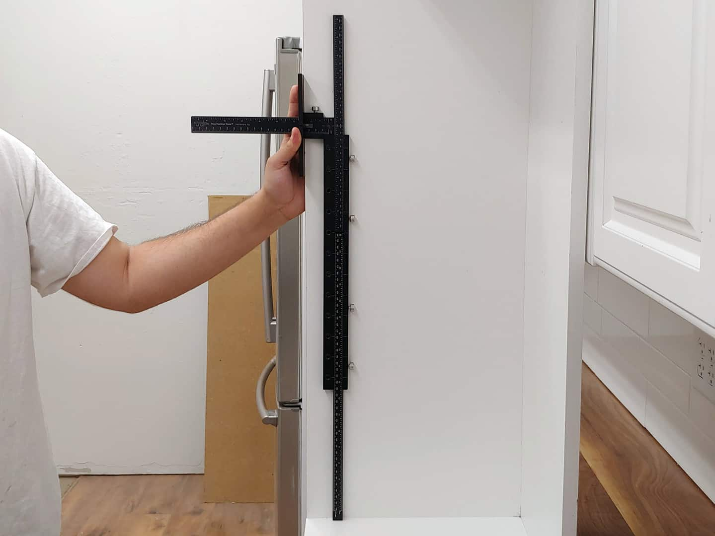 shelf pin line boring with TP-1935 Cabinet Hardware Jig (step 3)