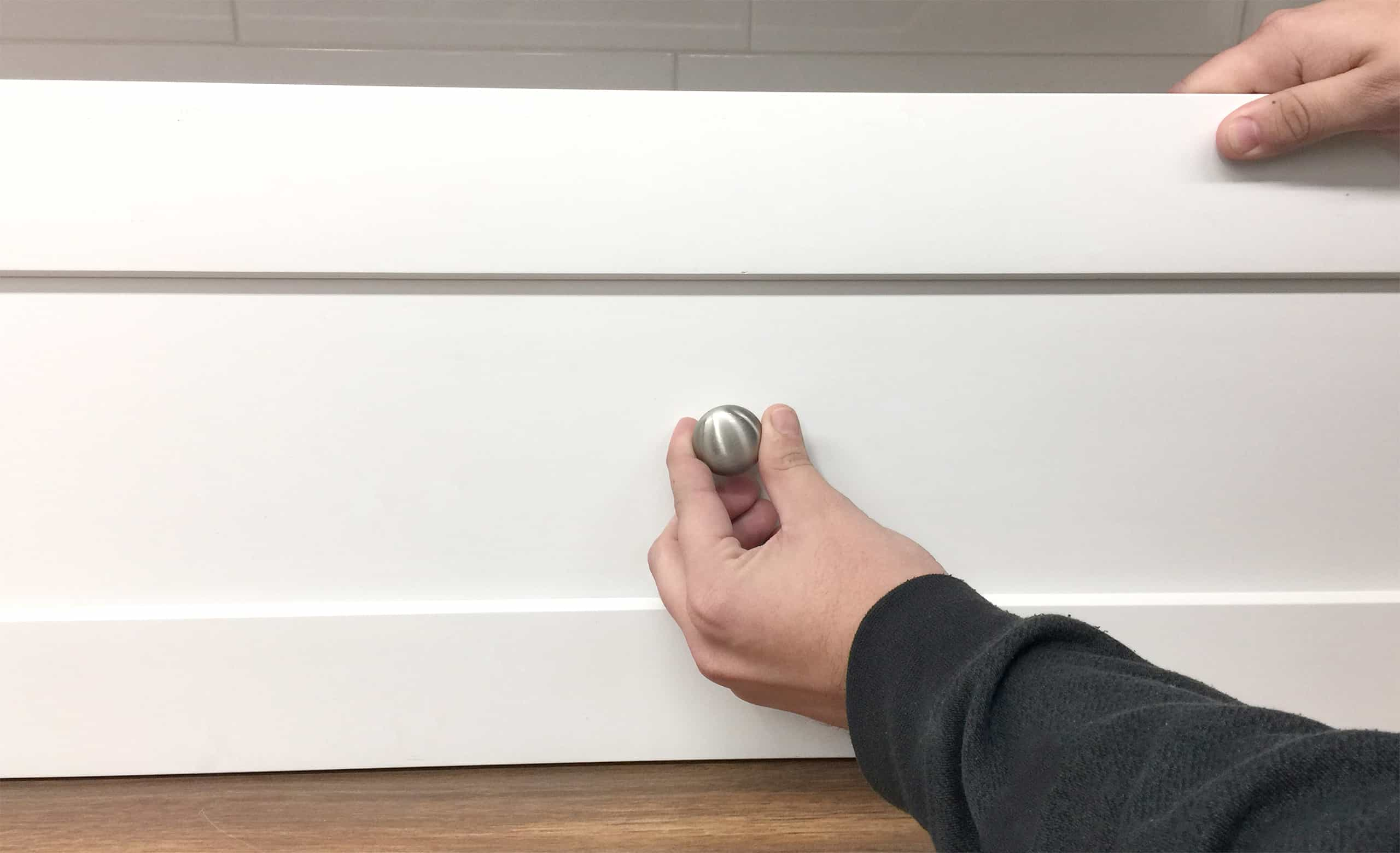 knob placement shaker cabinet drawer centered recessed panel