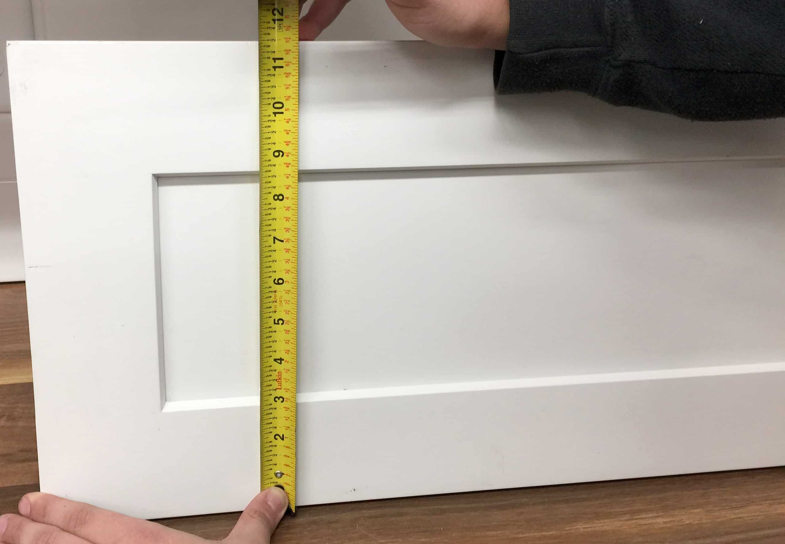 Shaker cabinet drawer front tape measurement height