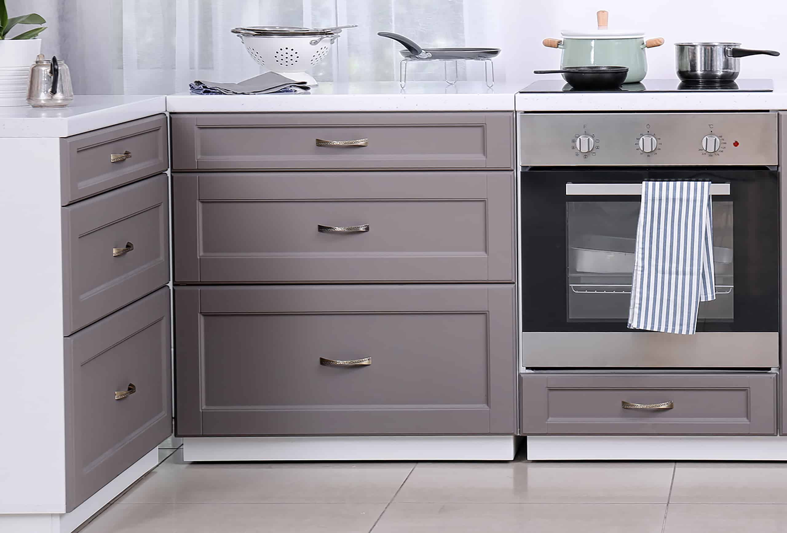shaker style modern kitchen cabinet drawers centered hardware pulls recessed panel