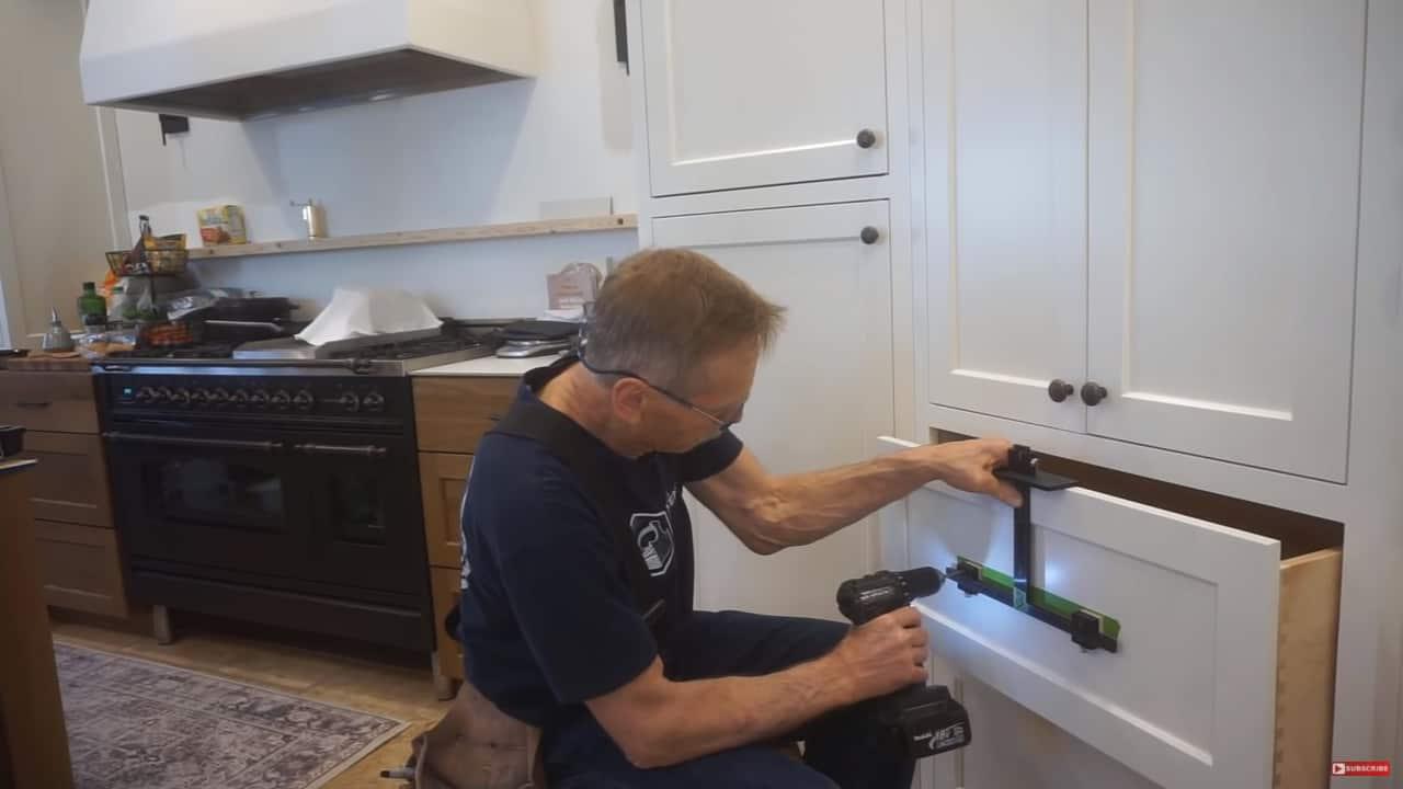 Next Level Carpentry Professional Cabinet Hardware Drilling Jig Demonstration
