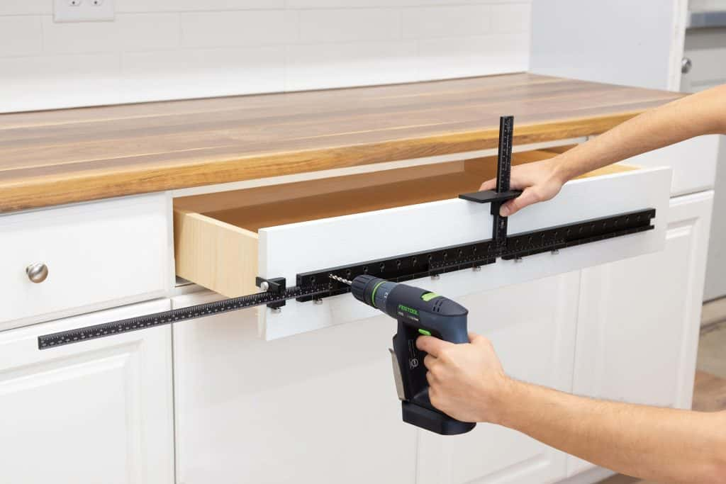 TP-1935 Cabinet Hardware Jig Max and TP-ERA Extended Ruler Attachment - Oversized Drawer Handle Installation